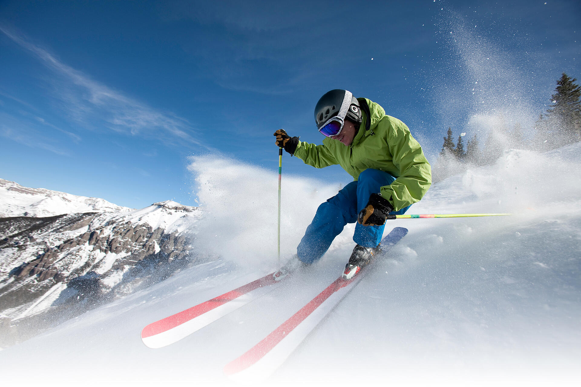 Skiing with polarized sport sunglasses