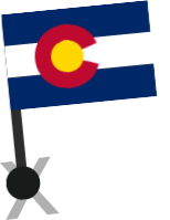 colorado flag pinned on map